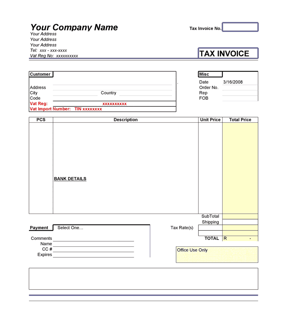 Tax Invoice Template In Ms Excel Free Download Free Pdf Books