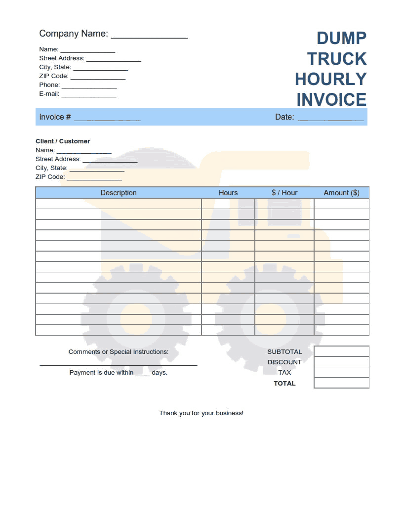 Dump Truck Hourly Invoice Template Word Excel Pdf Free Download Free Pdf Books