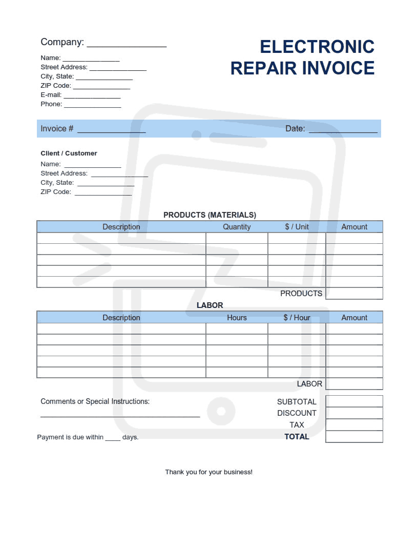 Electronic Repair Invoice Template Word Excel Pdf Free Download Free Pdf Books