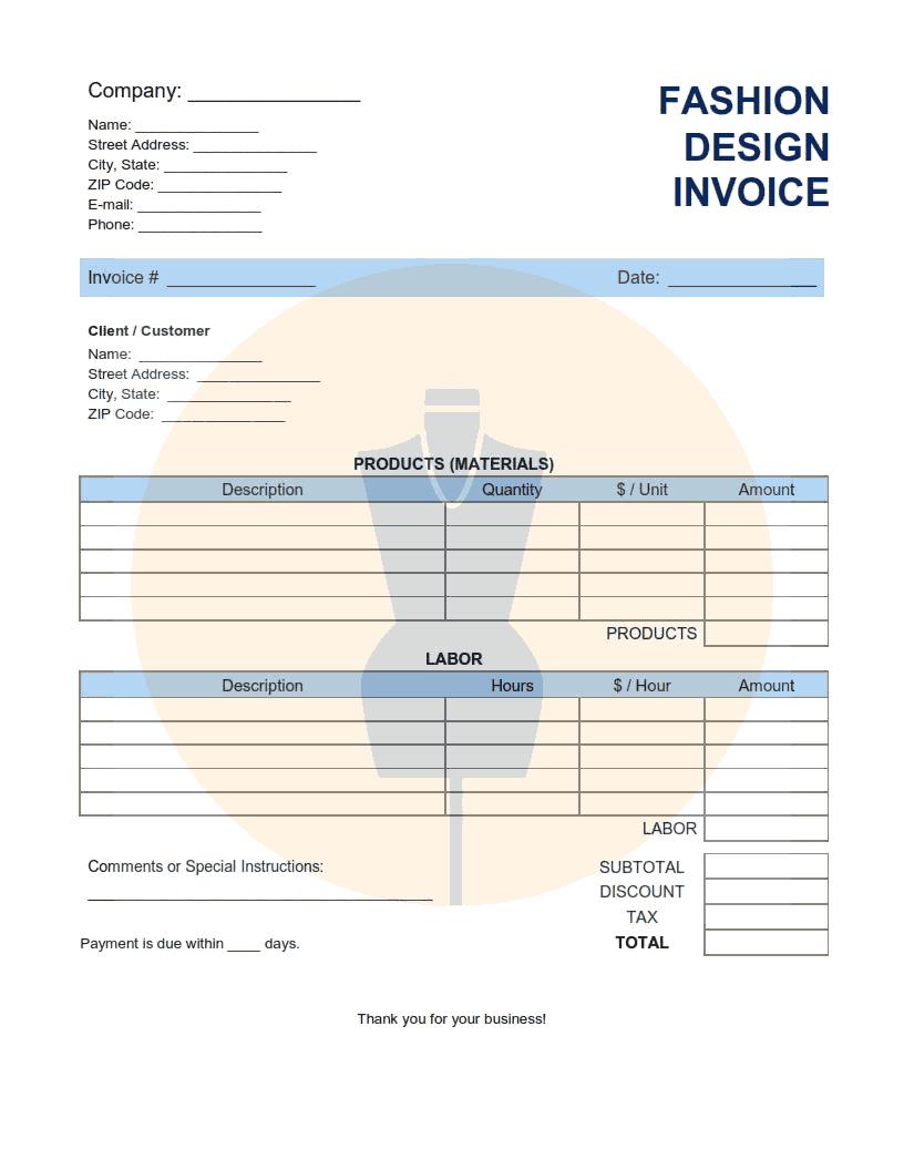 Fashion Design Invoice Template Word Excel Pdf Free Download Free Pdf Books