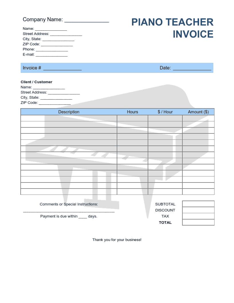 Piano Teacher Invoice Template Word Excel Pdf Free Download Free Pdf Books