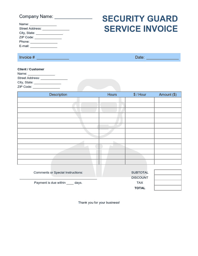 Security Guard Service Invoice Template Word Excel Pdf Free Download Free Pdf Books