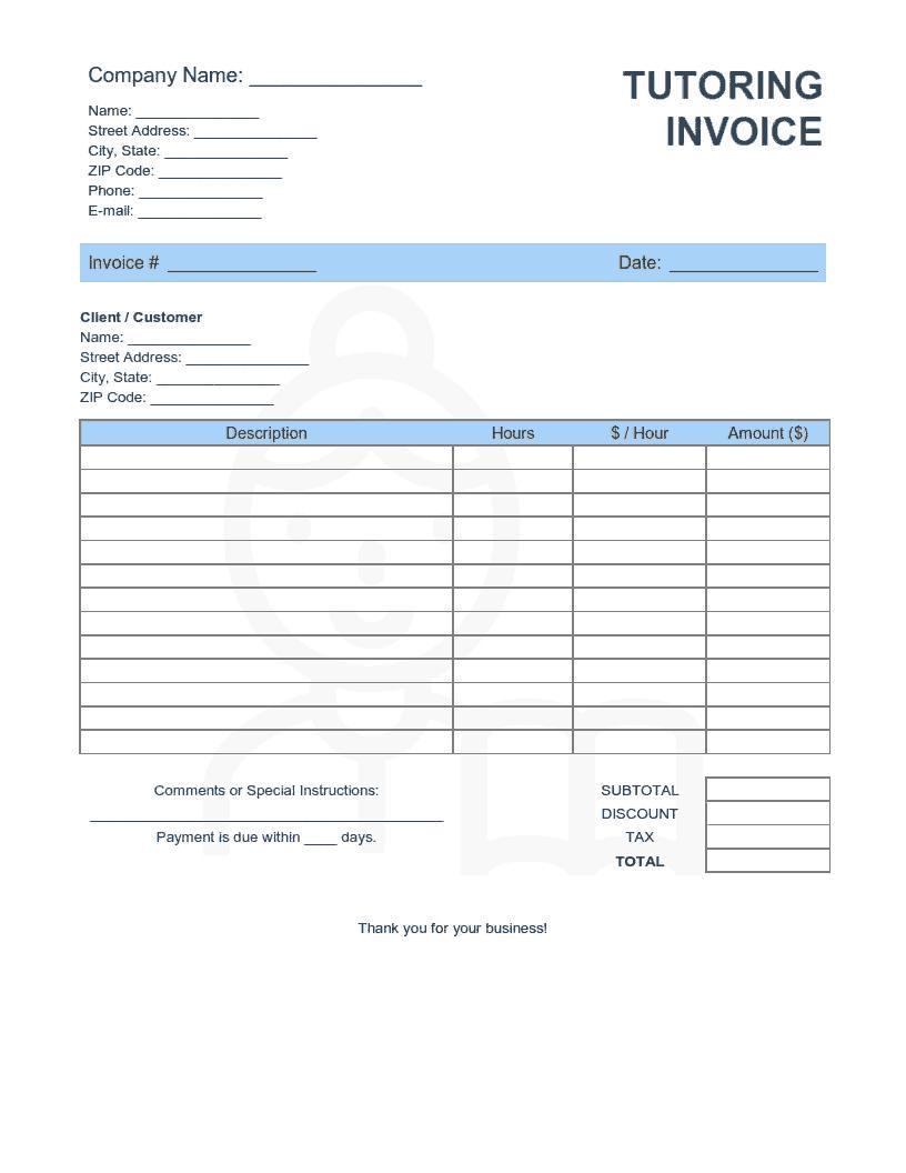Tutoring Invoice Template Word Excel Pdf Free Download Free Pdf Books