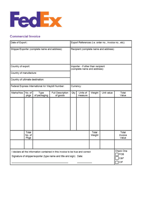 Fedex Commerical Invoice Template Word Excel Pdf Free Download Free Pdf Books