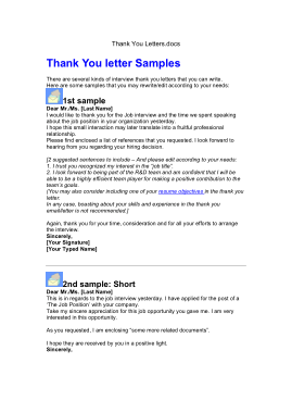 Free Download PDF Books, 9 Sample Thank You Letters Format Template PDF | Word