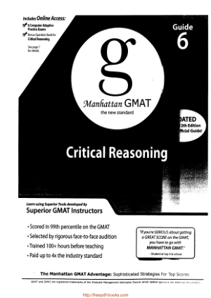 Learn using Superior Tools developed by Superior GMAT Instructors Guide 6