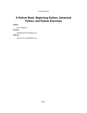Free Download PDF Books, A Python Book Beginning Python Advanced Python and Python Exercises