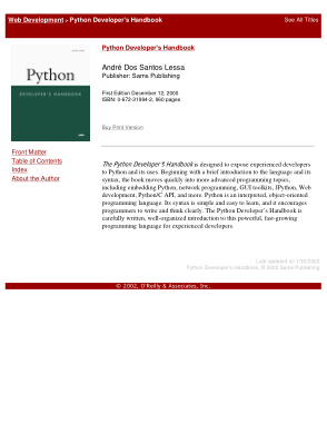 Free Download PDF Books, Python developer s handbook
