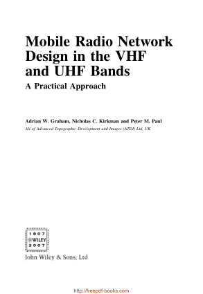 Mobile Radio Network Design in the VHF and UHF Bands – Networking Book