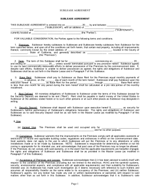 Free Download PDF Books, Generic Sublease Agreement Form Template