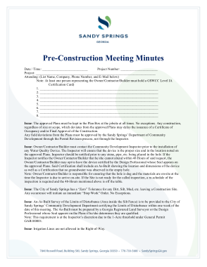 Free Download PDF Books, Pre Construction Meeting Minutes