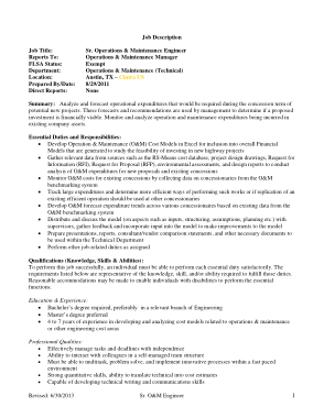 Free Download PDF Books, Operations and Maintenance Engineer Job Description Format Template