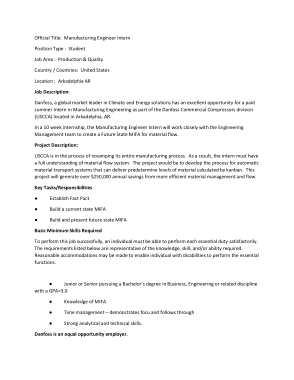 Free Download PDF Books, Manufacturing Engineer Intern Job Description Template