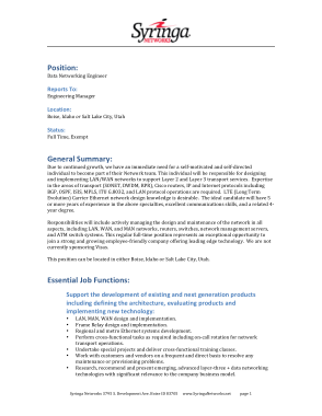 Free Download PDF Books, Data Network Engineer Job Description Template