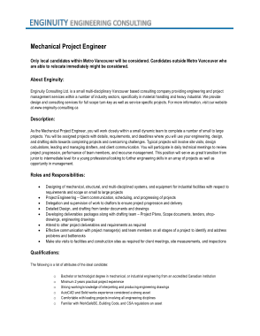 Free Download PDF Books, Mechanical Project Engineering Job Description Template