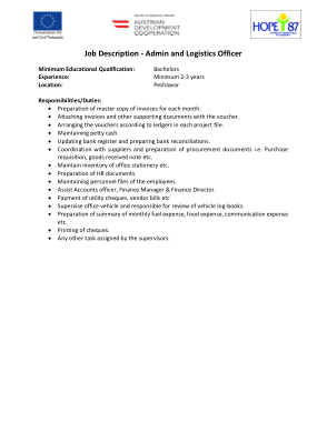 Free Download PDF Books, Admin And Logistics Officer Job Description Template