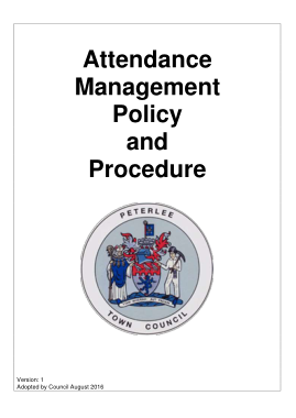 Free Download PDF Books, Attendance Management Policy and Procedure. Template