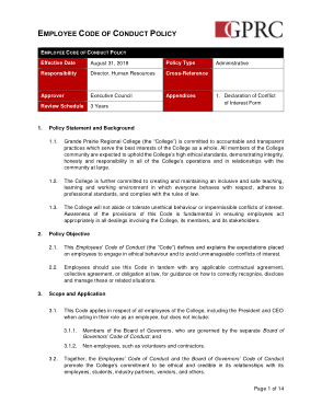 Free Download PDF Books, Employee Code Of Conduct Policy Sample Template