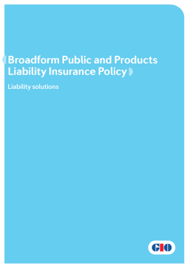 Free Download PDF Books, Broadform Public and Products Liability Insurance Policy Template