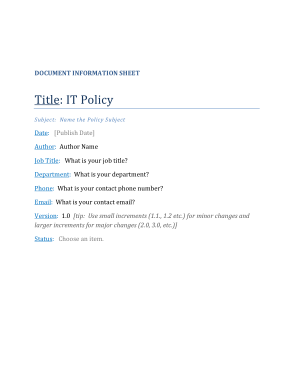 Free Download PDF Books, IT Policy Sample Template
