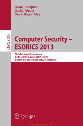 Free Download PDF Books, Computer Security ESORICS 2013 – 18th European Symposium on Research in Computer Security