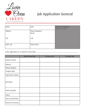 Free Download PDF Books, Basic Generic Job Application Template