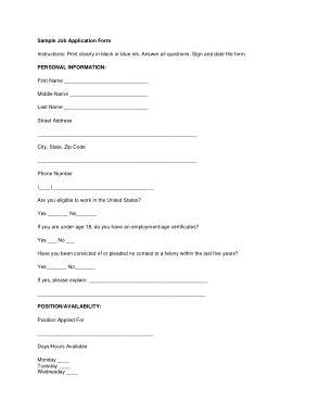 Free Download PDF Books, Sample Job Application Form(1) Template