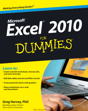 Free Download PDF Books, Excel 2010 For Dummies