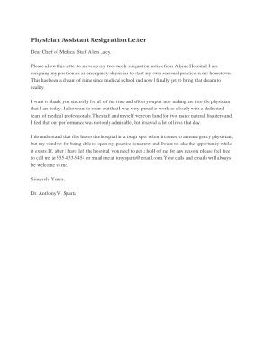 Free Download PDF Books, Physician Assistant Resignation Letter Template