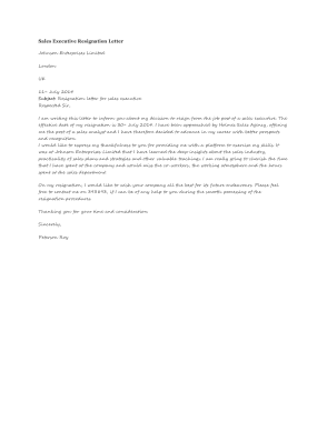 Free Download PDF Books, Sales Executive Resignation Letter Template