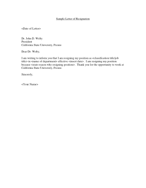 Free Download PDF Books, University Faculty Resignation Letter Template