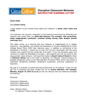 Free Download PDF Books, College Student Warning Letter Template