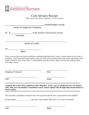 Cash Advance Payment Receipt Form Template Free Download Free