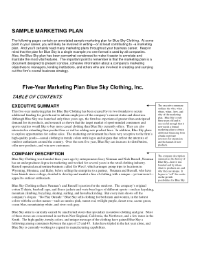 Free Download PDF Books, Clothing Sample Marketing Plan Template