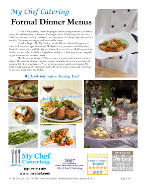 Free PDF Books, Formal Dinner Menu Template Template