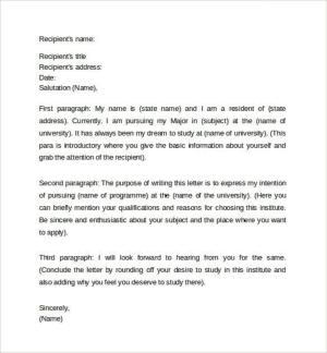 Formal template letter for 19+ Formal