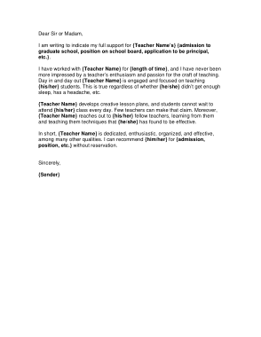 Free PDF Books, Character Letter of Recommendation for Teacher Template