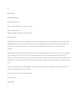 Free PDF Books, Personal Recommendation Letter Sample Template