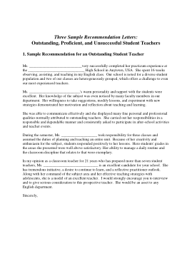 Free Download PDF Books, Student Teacher Recommendation Letter Template
