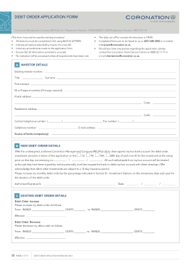 Free Download PDF Books, Debit Order Application Form Template