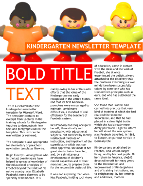 Free Download PDF Books, Free Kindergarten Newsletter Weekly Template