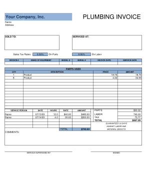 Free Download PDF Books, Company Plumbing Invoice Free Template