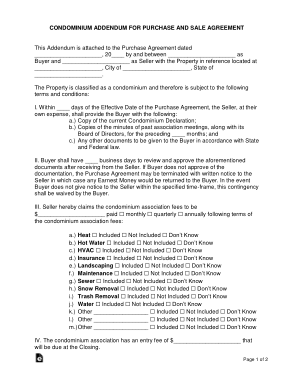 Free Download PDF Books, Condominium Assoc Addendum To Purchase Agreement Form Template