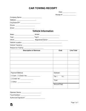 Car Towing Receipt Form Template Free Download Free Pdf Books