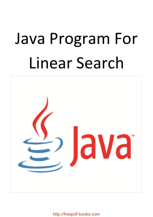 Java Program For Linear Search, Java Programming Book