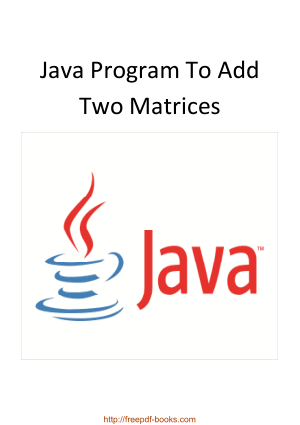 Java Program To Add Two Matrices, Java Programming Tutorial Book