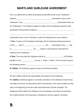 Free Download PDF Books, Maryland Sublease Agreement Form Template