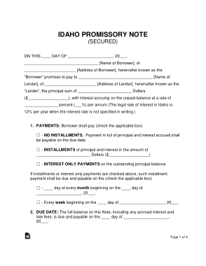 Free Download PDF Books, Idaho Secured Promissory Note Form Template