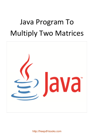Java Program To Multiply Two Matrices
