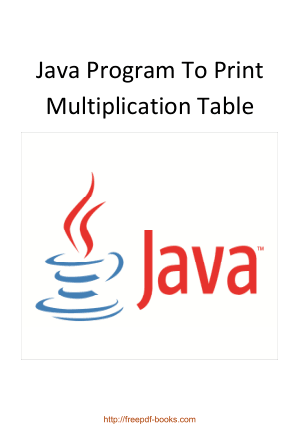 Free Download PDF Books, Java Program To Print Multiplication Table